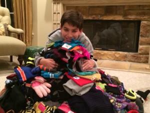 Owen mitzvah project hats 4 homeless
